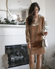Velvet V Neck Long Sleeve Mini Dress LSD-8250