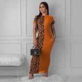 Plus Size Leopard Patchwork Short Sleeve Maxi Dress LSD-8600