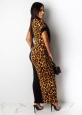 Plus Size Leopard Patchwork Short Sleeve Maxi Dress LSD-8600