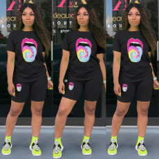 Tongue Print T Shirt And Shorts Two Piece Sets LSD-8714
