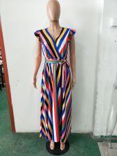 Rainbow Striped V Neck Maxi Dress LSD-8133