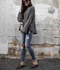 Casual Loose Solid Flare Sleeve Tops LSD-8229