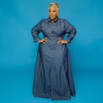 Plus Size Full Sleeve Button Up Denim Maxi Dress OSIF-20902