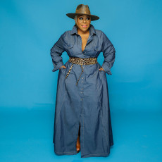 Plus Size Full Sleeve Button Up Denim Maxi Dress OSIF-20902