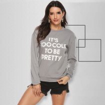 Letter Print Long Sleeve O Neck Sweatshirt Tops OSIF-004