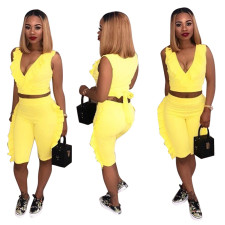 Plus Size Solid Ruffled Sleeveless Two Piece Shorts Set LSD-8111