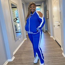 Plus Size Casual Tracksuit Zipper Two Piece Sets OSIF-20999