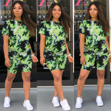 Casual Printed Short Sleeve Two Piece Sets OFN-6500