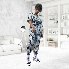 Cartoon Print Half Sleeve Two Piece Pants Set YD-8037