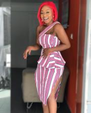Sexy Striped Off Shoulder High Waist Split Midi Peplum Dress YD-8024