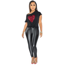 All-match Love Sequins Casual Round Neck Short Sleeve T-shirt APLF-5002
