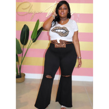 Plus Size Fat MM Denim Hole Flared Jeans HSF-2301
