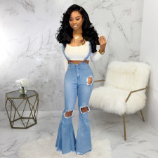 Plus Size Denim Hole Strap Flared Jeans HSF-2093