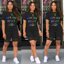 Plus Size Letter Print T Shirt Shorts Two Piece Sets SHE-7180