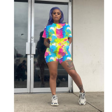 Plus Size Tie Dye Short Sleeve Two Piece Short Sets SHE-7174