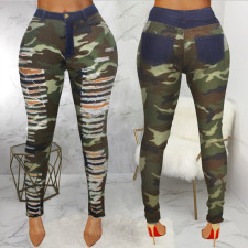 Plus Size Camo Print Hole Skinny Pants HSF-2096