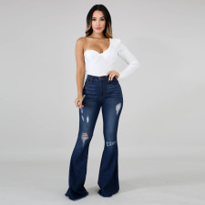 Plus Size Ripped Hole Skinny Flared Jeans HSF-2229