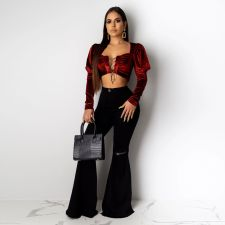 Plus Size Denim Ripped Flared Jeans HSF-2098