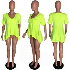 Plus Size Sexy V Neck Short Sleeve Irregular T-shirt Top YYF-6360