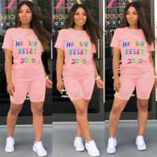 Plus Size Letter Print T Shirt Shorts Two Piece Sets SHE-7180