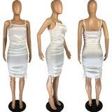 Sexy Spaghetti Strap Ruched Club Dress LM-8219