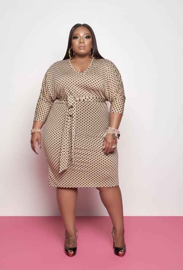 Plus Size Fashion Polka Dot Midi Dress BDF-8055