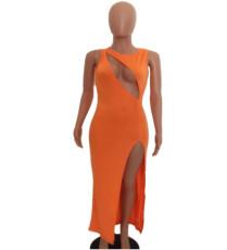 Sexy Sleeveless High Split Hollow Maxi Dress AWYF-8814