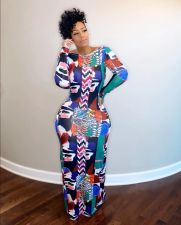 Plus Size Backless Printed Long Sleeve Maxi Dress CQF-938