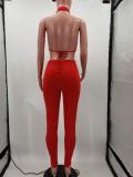 Sexy Solid Halter Crop Top And Pants 2 Piece Sets TK-6151