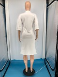 Casual Half Sleeve Letter Print Midi Dress RUF-8903