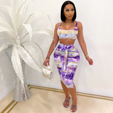 Sexy Printed Crop Top Midi Skirt Two Piece Sets CQF-937