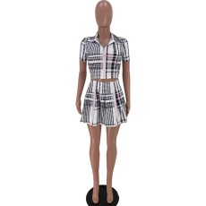 Plaid Print Short Sleeve Mini Skirt 2 Piece Sets XSF-6031