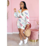 Letter Print Long Sleeve Two Piece Short Sets ARM-8246