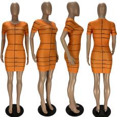 Casual Printed Short Sleeve O Neck Mini Dress QMF-7016
