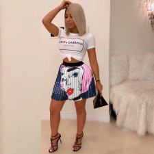 Trendy Cartoon Print Pleated Mini Skirt YNB-7145