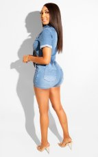 Denim Tie Up Tops Jeans Shorts Two Piece Suits BS-1252