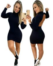 Sexy Backless Long Sleeve Slim Mini Dress YIM-170