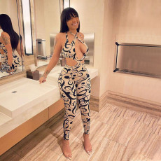 Musical Note Print Hollow Out Halter Jumpsuit QSF-5048