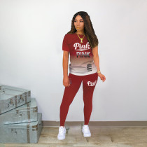 Casual PINK Letter Print Gradient Short Sleeved Pants Two Piece Set OXF-8028