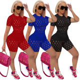 Casual Solid Hole Short Sleeve Two Piece Sets TE-4207