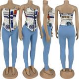 Sexy Printed Strap Top+Pants Slim Two Piece Sets LQ-010