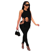 Fashion Sexy Sleeveless Top And Pants Two Piece Set YUF-9060