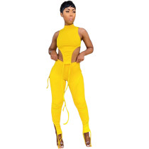 Sexy Solid Sleeveless Two Piece Pants Set MIL-204