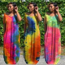 Plus Size Tie Dye V Neck Split Short Sleeve Maxi Dress WAF-7146