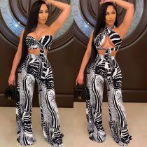Sexy Printed Crop Top Flared Pants Two Piece Sets YYGF-1069