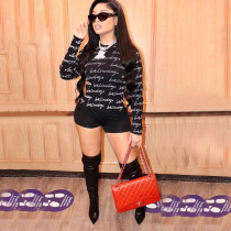 Letter Print Long Sleeve Casual Two Piece Shorts Set LSF-9067-1