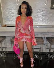Sexy Mesh Printed V Neck Slim Mini Dress FENF-091