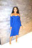 Fashion Sexy Off Shoulder Ruched Bodycon Midi Dress QYF-5047