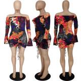 Off Shoulder Fashion Sexy Graffiti Print Ruffle Sleeve Dress APLF-5025
