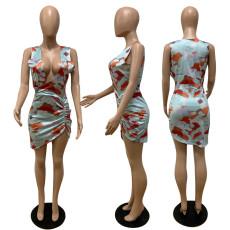 Sexy Printed Sleeveless V Neck Irregular Mini Dress QSF-5053